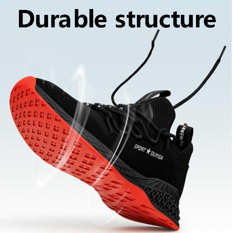 男性の作業安全靴カジュアルシューズ通気性屋外パンク証拠スニーカー快適な産業の靴