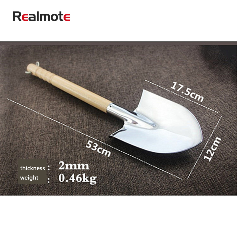 Realmote Stainless Steel Snow Shovel Garden Digging The Vegetables Flower Wooden Handle Spade Gardening Tools