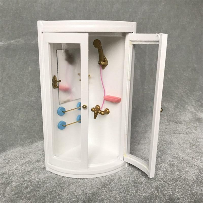 Bonecas móveis banheiro do vintage branco chuveiro quarto brinquedos casa de boneca em miniatura bebê fingir brinquedos bonecas acessórios