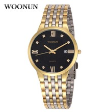 Classic Men Watches Luxury Men Gold Watches Stainless Steel Men #8217 s Watches Waterproof Shockproof Quartz Watches Men reloj hombre cheap WOONUN Business Bracelet Clasp 3Bar 24cm 18mm ROUND No package Shock Resistant Auto Date Water Resistant 38mm Hardlex man watch 088033