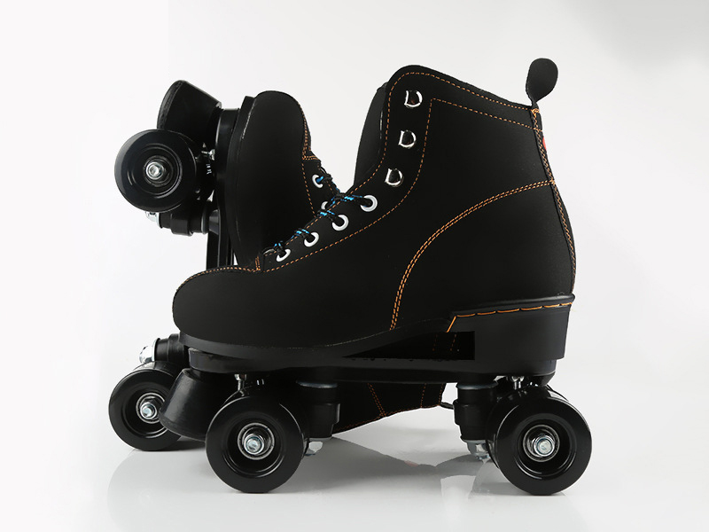 Unisex Double Line Adult  Indoor Quad Parallel Skates Shoes Boots 4 PU Wheels Black With Brake  Lace-Up Women Men