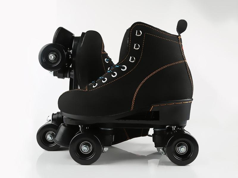 Unisex Double Line Adult  Indoor Quad Parallel Skates Shoes Boots 4 PU Wheels Black With Brake  Lace-Up Women Men