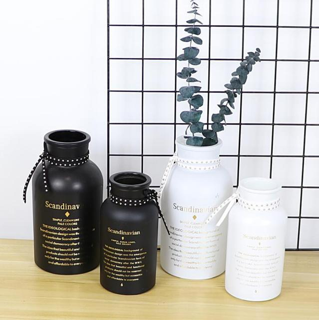 Glass Vase Flower Pot Flower Basket Flower Black White Bottle Vase Decoration Home Nordic Decoration Dried Flower Hydroponic 2