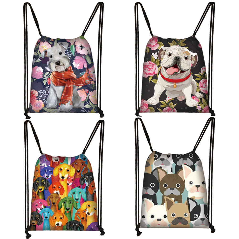 Cute Dog Yorkshire Terrier / French Bulldog / Dachshund Drawstring Bag Women Fashion Bag Teenager Girls Travel Backpack Bookbag