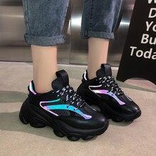 Зимние женские кроссовки с сетчатой подкладкой, черные кроссовки на платформе, повседневная обувь для папы, Студенческая спортивная обувь