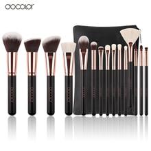 Docolor New 15 PCS Makeup Brushes Set Goat Bristle Synthetic Hair Cosmetics Kit Make up Brush With Bag