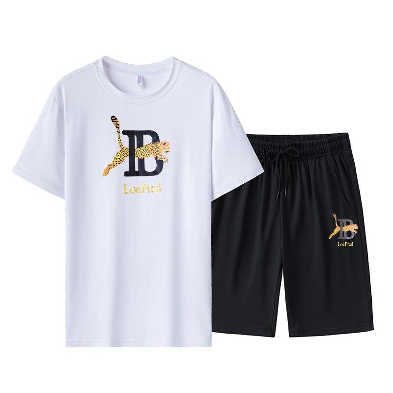 Мужские летние спортивный костюм модный принт, футболки с короткими рукавами и круглым вырезом топ + спортивные штаны для бега, Однотонная о...