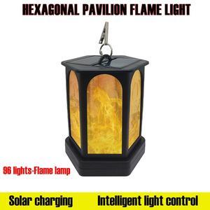 Solar Hexagonal Flames Torches Lights 96 LED Outdoor Garden Waterproof Hanging Lamppost Outdoor Landscape Decoration Lighting