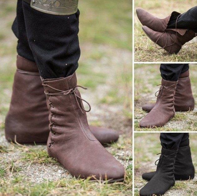 Renaissance Shoes Faire Short Boot Suede Adult Halloween Costume Shoes 2 COLORS