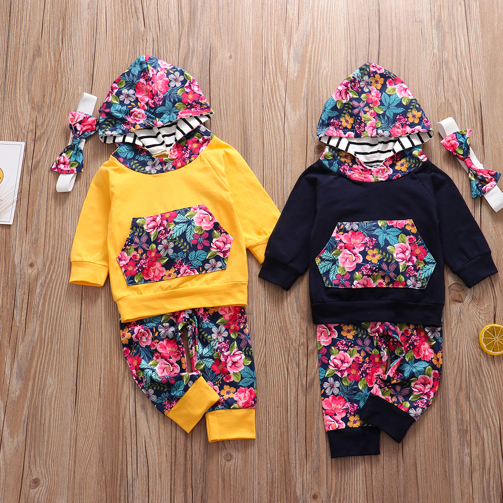pcs New Autumn Baby Girl Clothes Set Hoodie Pants Headband Outfits Floral Print Newborn Infant Clothes