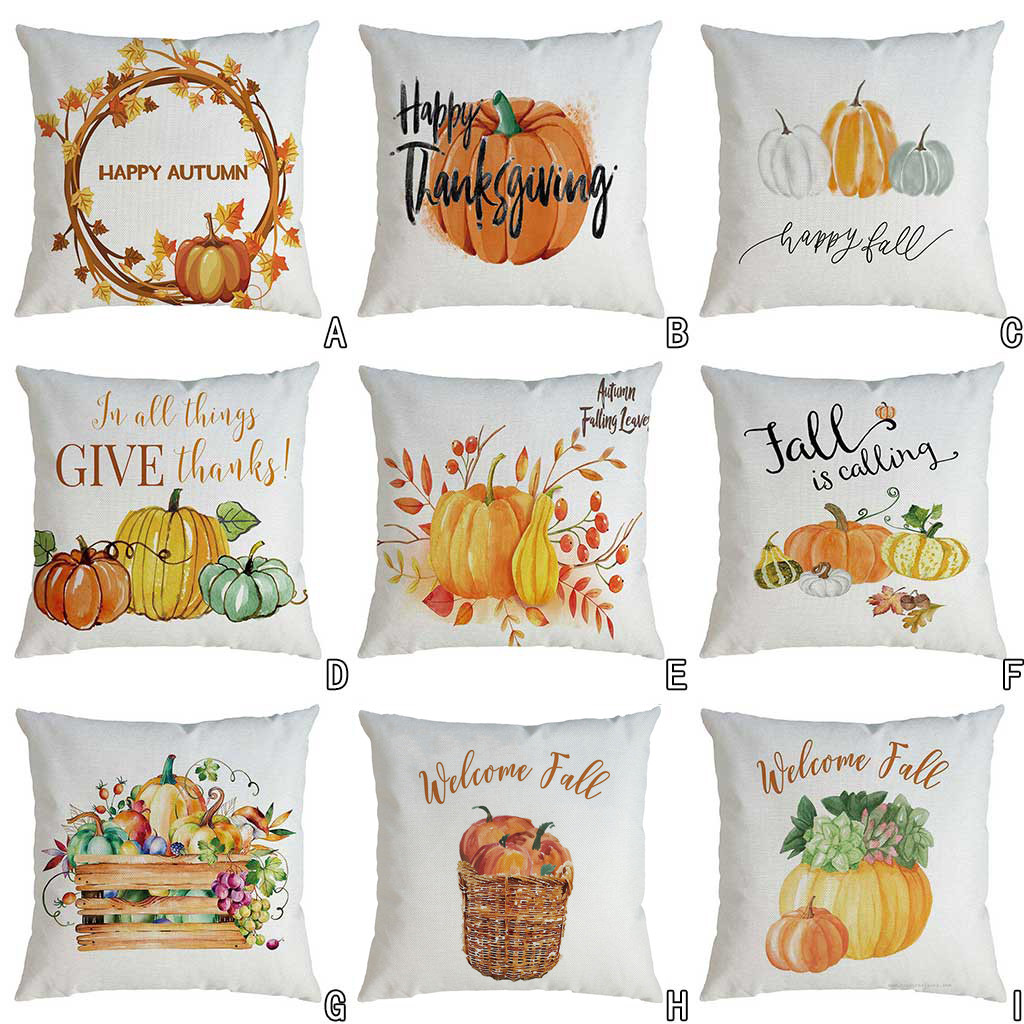 Fall Harvest Pumpkin Car Throw Pillow Case Cushion Cover Sofa Cafe Home Decor