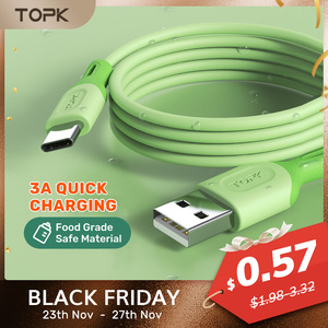 TOPK Micro USB Type C Cable for XiaoMi red mi note 9 3A Fast Charging Liquid Silicone Mobile Phone Data Cable for Samsung Huawei