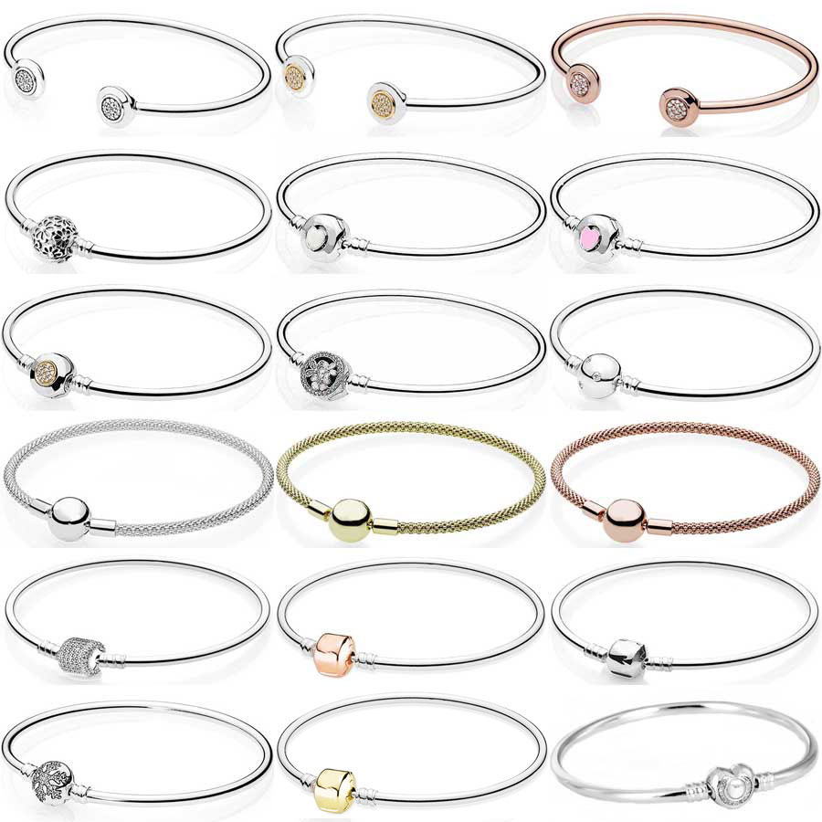 Moments Heart Poetic Blooms Barrel & Ball Clasp Signature Open Bangle Fit Fashion Bracelet 925 Sterling Silver Charm DIY Jewelry