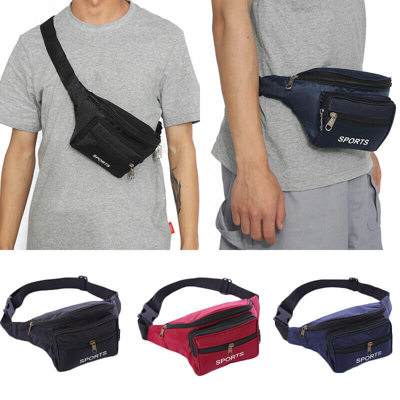 Black Waist Fanny Pack Belt Money Bag Pouch Travel Sport Hip Purse Men Women Bum