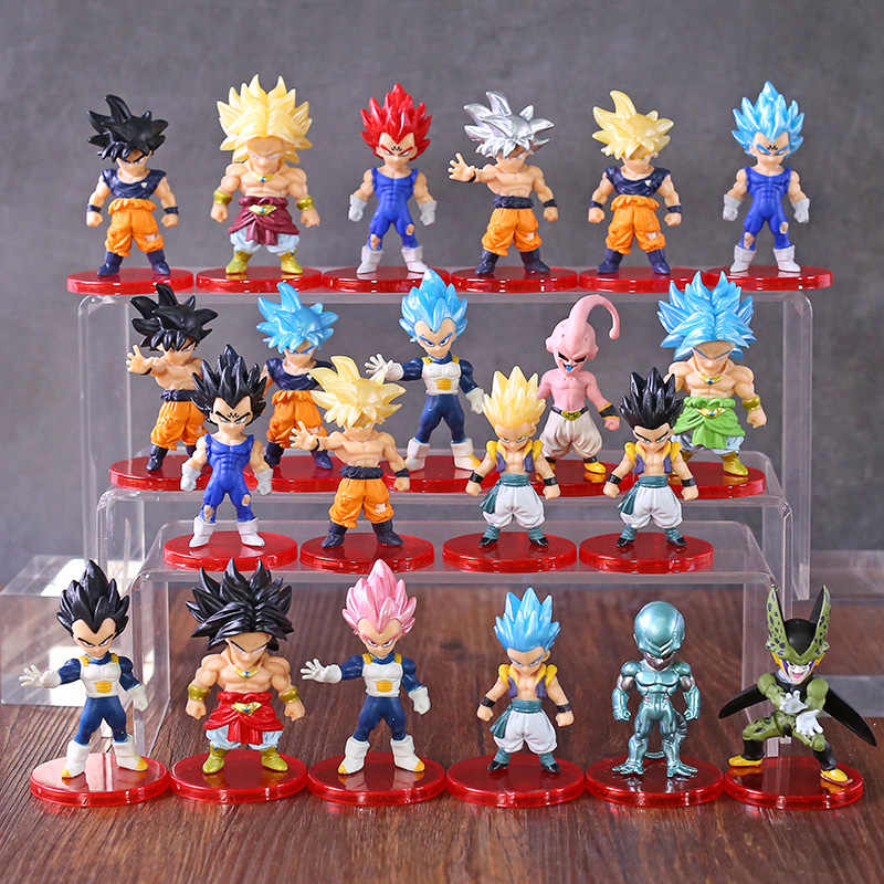 Dragon Ball Z Super Saiyan dieu fils Goku Vetega Gotenks Broly cellule Majin Buu Freeza figurines Mini DBZ jouets 21 pièces/ensemble