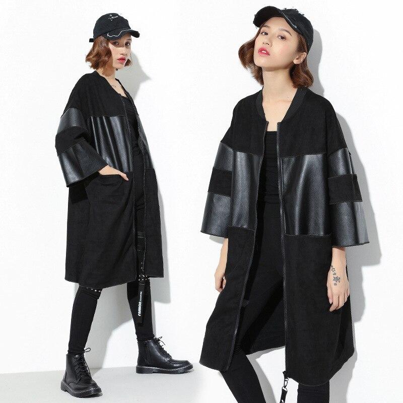 PU LeahterAutumn   Trench   Coat Women Causal Round Neck Female Dark Medium Long Black Female Coat Casaco Feminino Coats SA052S30