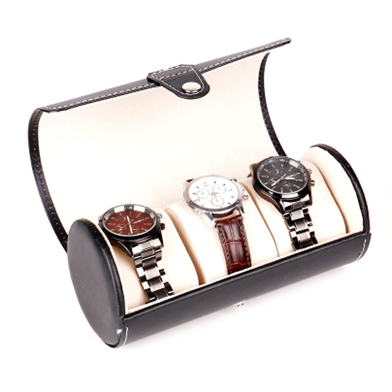 Manufacturers Customizable Electricity Supplier Hot Sales Cylindrical Leather Black And White With Pattern Leather 3 Pieces Watc