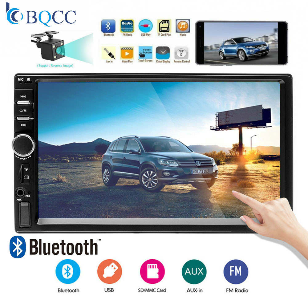 Autoradio 7018B 2Din General Car Models 7'' inch LCD Touch Screen Radio Player Bluetooth Audio Support Backup Camera image