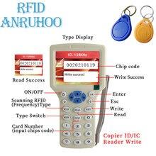 Handheld rfid 10 frequência duplicador 13.56mhz nfc smart chip cartão de criptografia decodificação leitor 125khz chave ic/id tag escritor clone
