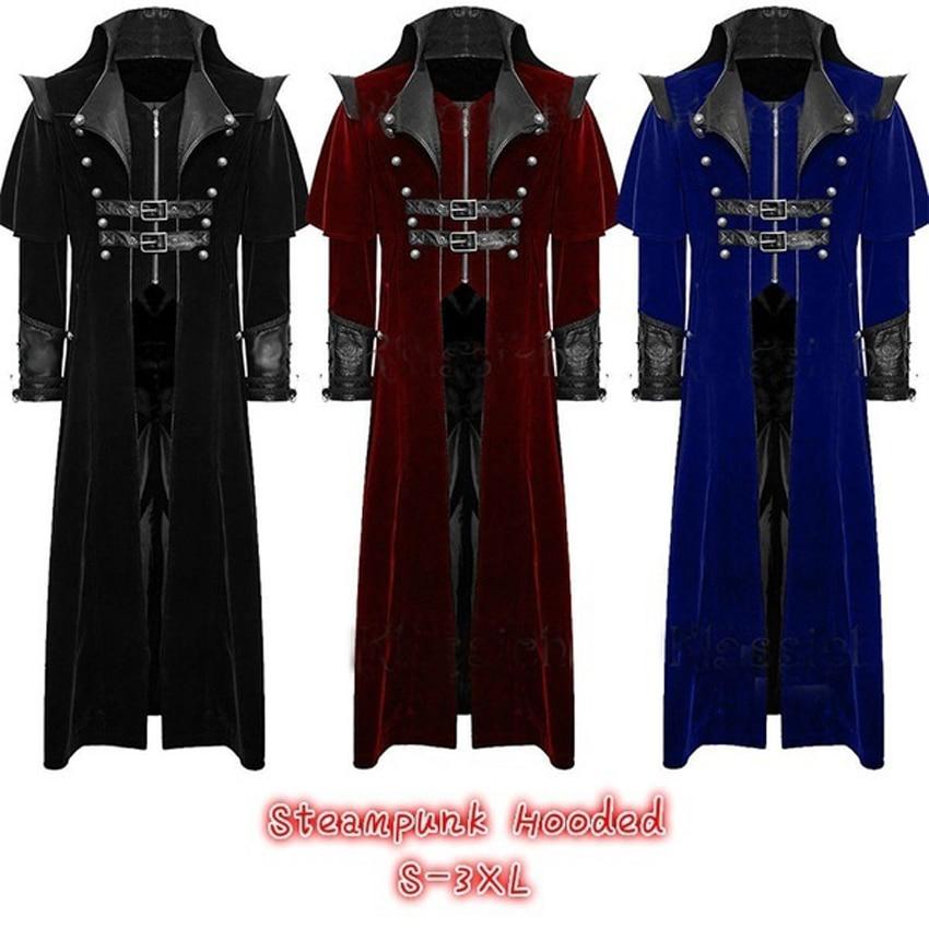 Luxury Men Medieval Prince Trench Renaissance Victorian Gothic Vampire Cosplay Costumes Halloween Masquerade Coat