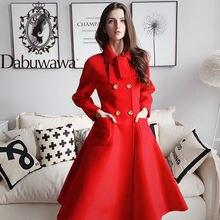 Женское двубортное шерстяное пальто dabuwawa элегантное однотонное