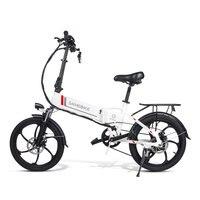 Samebike 20 Aluminum Alloy Foldable Electric Bicycle 48V 8Ah Intelligent LCD Display Remote Control Anti theft Alarm Bike