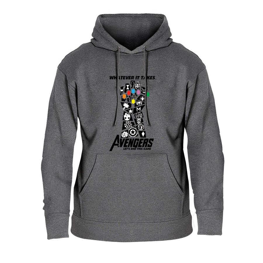 어벤저 스 4 엔드 게임 후드 놀라운 인피니티 전쟁 엔드 게임 타 노스 참신 후드 티셔츠 코튼 화이트 그레이 남성 까마귀