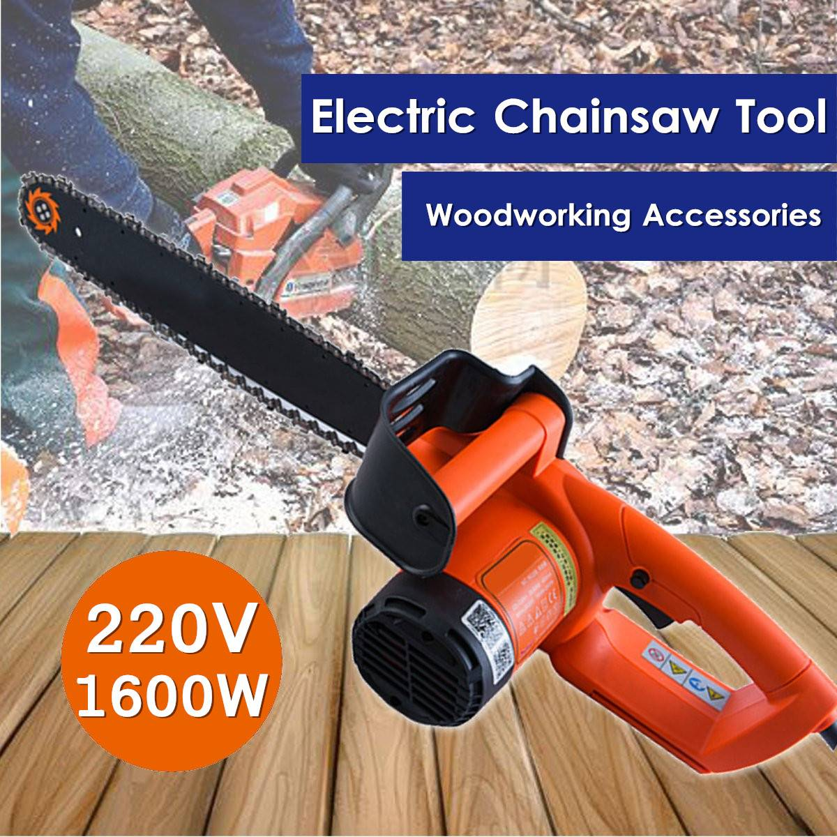 220V 1600W Electric Chainsaw Wood Cutting Saws Grinding Bar Machine Handheld Woodworking Tool Multifunction Garden Power Tools