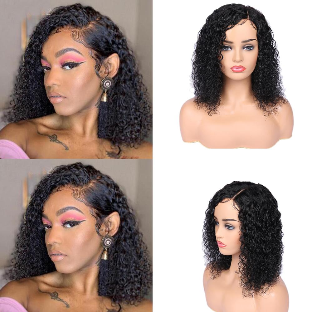 Wignee Kinky Curly Side Part Human Hair Wigs With Baby Hair For Black/White Women PrePlucked Brazilian Hair Afro Lace Human Wig