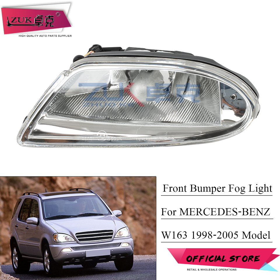 ZUK Front Bumper Lamp For Mercedes-Benz For ML320 <font><b>ML</b></font> <font><b>350</b></font> ML400 ML500 Fog Lamp For <font><b>W163</b></font> 1998 1999 2000 2001 2002 2003 2004 2005 image