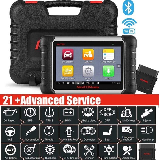 Herramienta de escaneo diagnóstico de coche, dispositivo con todos los sistemas y 21 servicios, IMMO, restablece el aceite, EPB, BMS, SAS, DPF, ABS, Autel MaxiCOM MK808BT