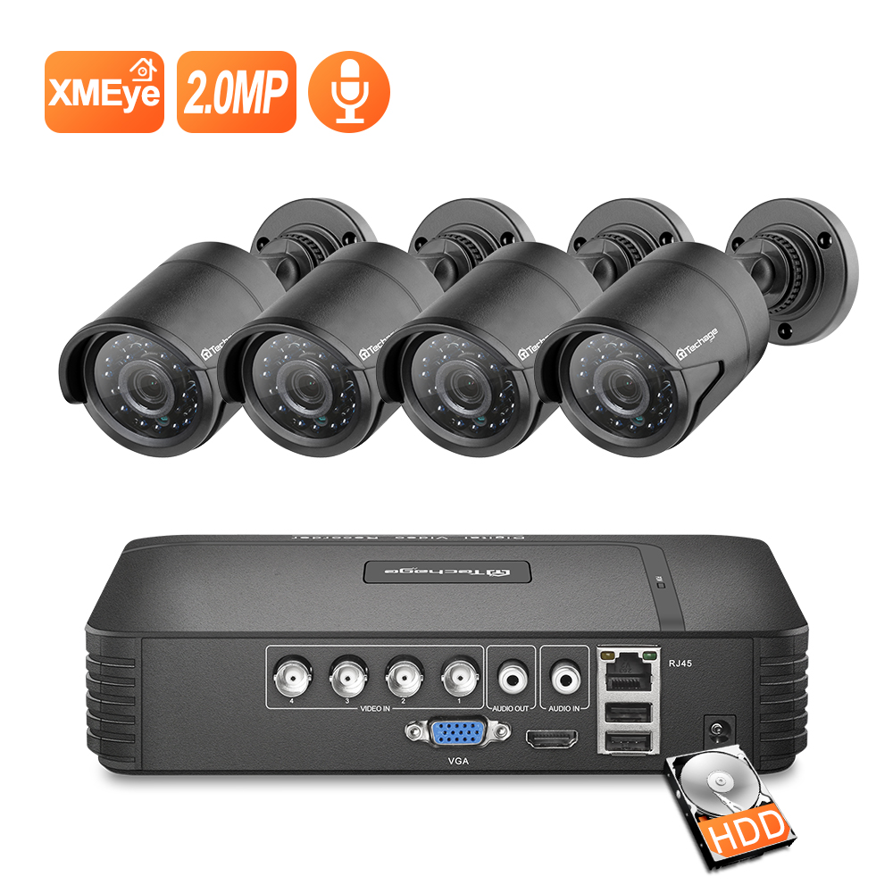 Techage 4CH 1080N AHD DVR CCTV Security System 1080P 2.0MP IR Night Vision Indoor Outdoor Camera Video Surveillance Set
