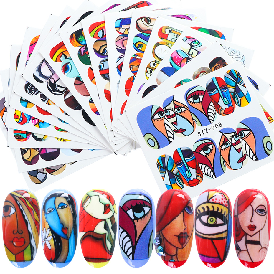16pcs Nail Stickers Set Girl Face Painting Line Designs Nail Art Decals Sliders Transfer Foil Decoration Manicure TRSTZ906-921-1(China)