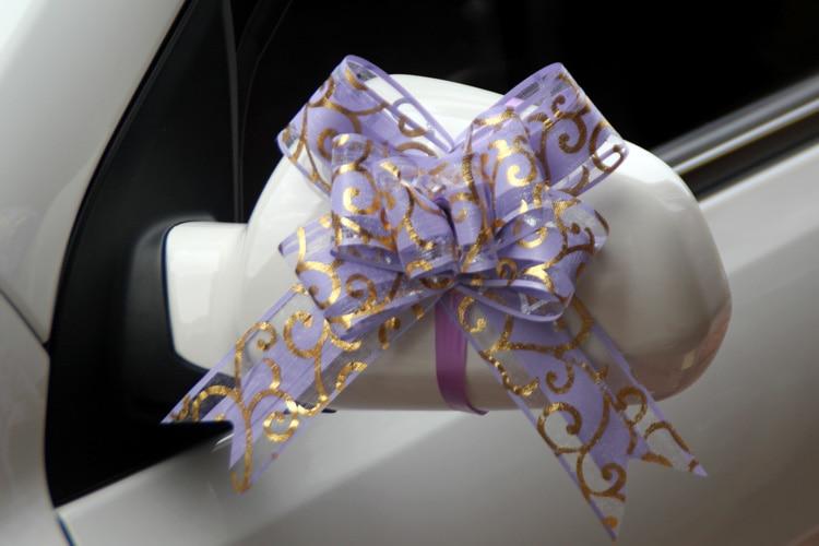 100pcs Mooie roze/rood/paars/blauw/zwart 50mm Pull strik voor boeket Gift verpakking Christmas Party Bruiloft Auto Decoratie - 4