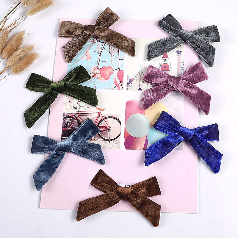 1PC filles velours nœuds pince à cheveux épingles à cheveux pour les femmes automne hiver Hairgrips chapeaux mignon nœud Barrettes cheveux accessoires