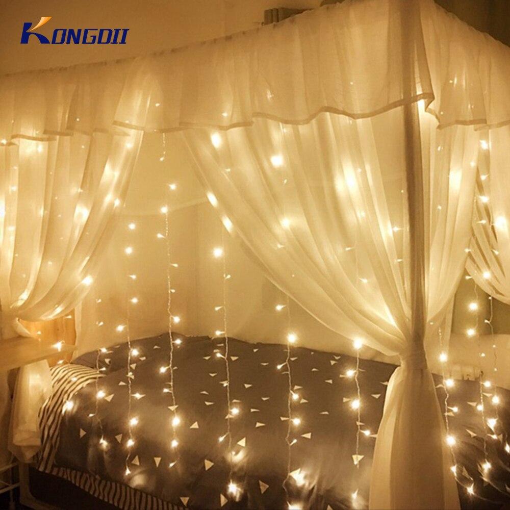 3X2/4X2/6X3 m LED ICICLE Fairy คริสต์มาสไฟ LED งานแต่งงาน fairy ไฟ Garland สำหรับกลางแจ้งตกแต่งบ้าน
