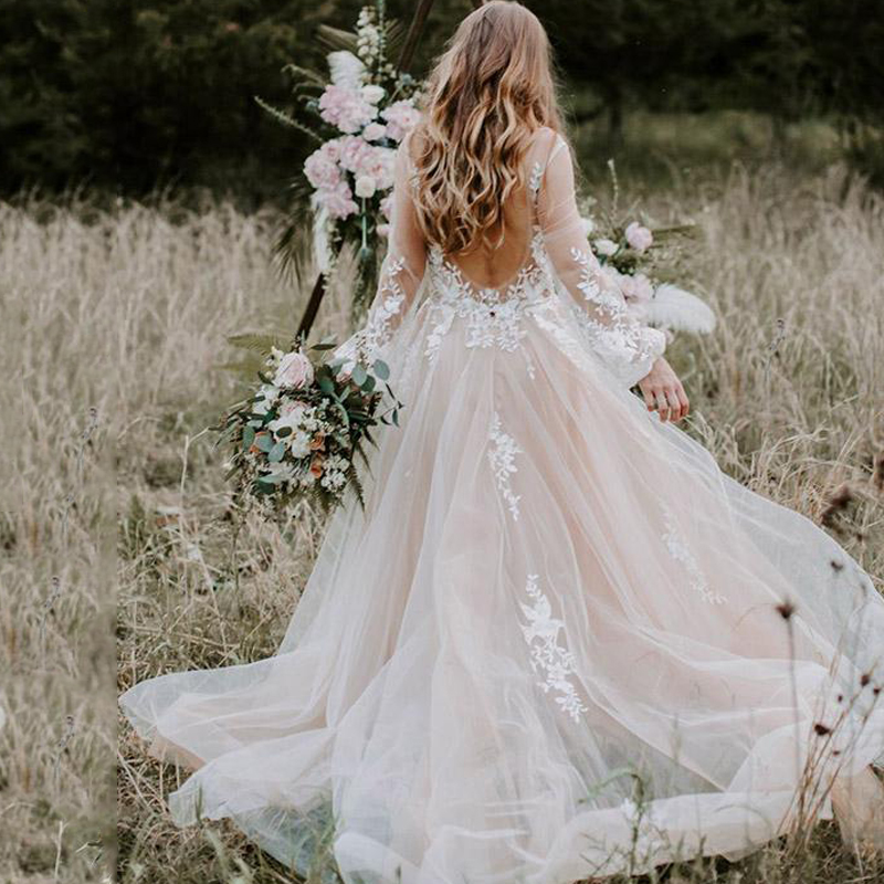 Romantic V-Neckline <font><b>Boho</b></font> A-line <font><b>Wedding</b></font> <font><b>Dresses</b></font> <font><b>2019</b></font> <font><b>Sexy</b></font> <font><b>Backless</b></font> Long Sleeves Layers Tulle Chic Lace Beach Bridal Gowns AX204 image