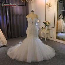 Ramiączka koronkowa suknia ślubna syrenka z koralikami zamówienie na zamówienie dla czarnej dziewczyny