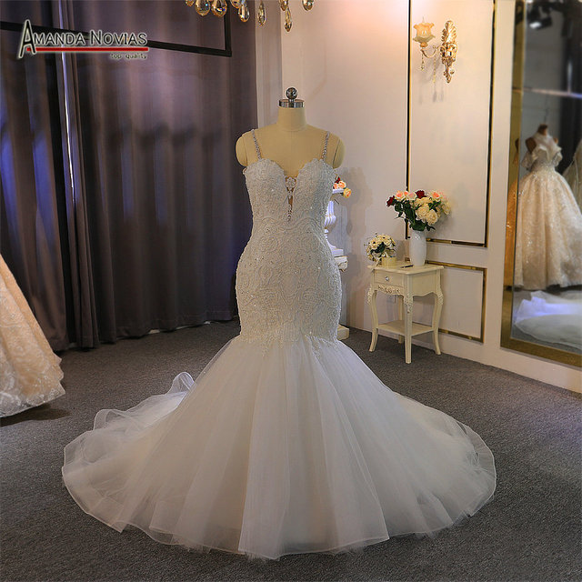 Straps lace mermaid wedding dress with beading custom order for black girl