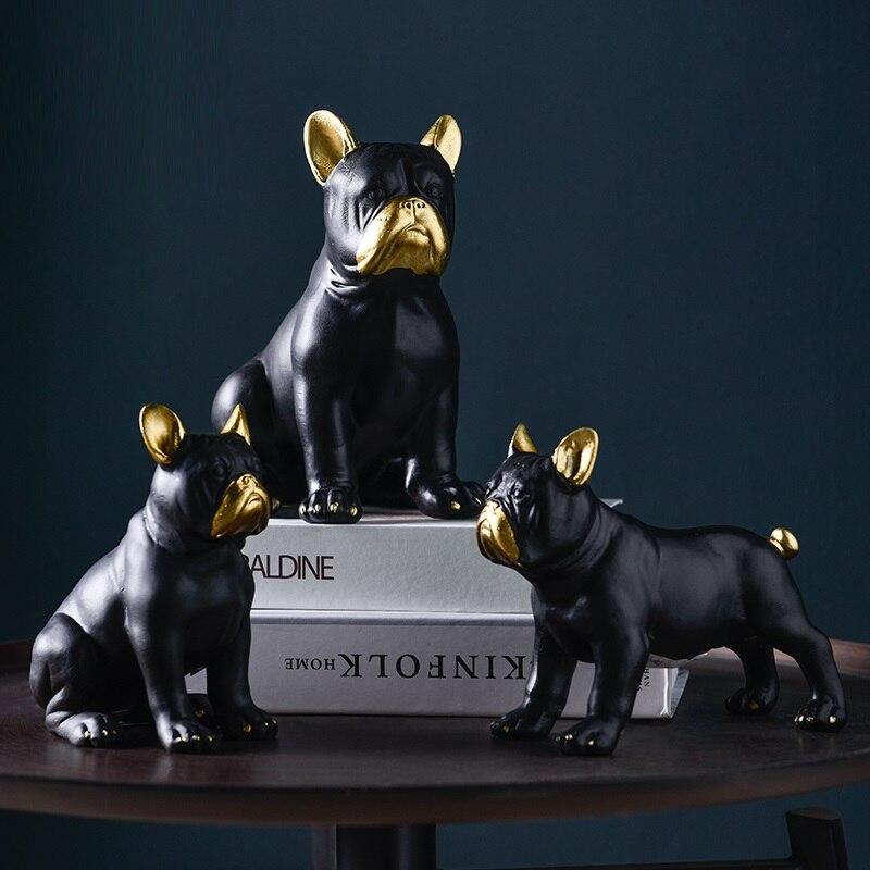 Ev ve Bahçe'ten Statü ve Heykelleri'de Iskandinav tarzı yaratıcı lüks fransız Bulldog heykelcik köpek hayvan heykeli reçine zanaat oturma odası süslemeleri ev için R3858 title=