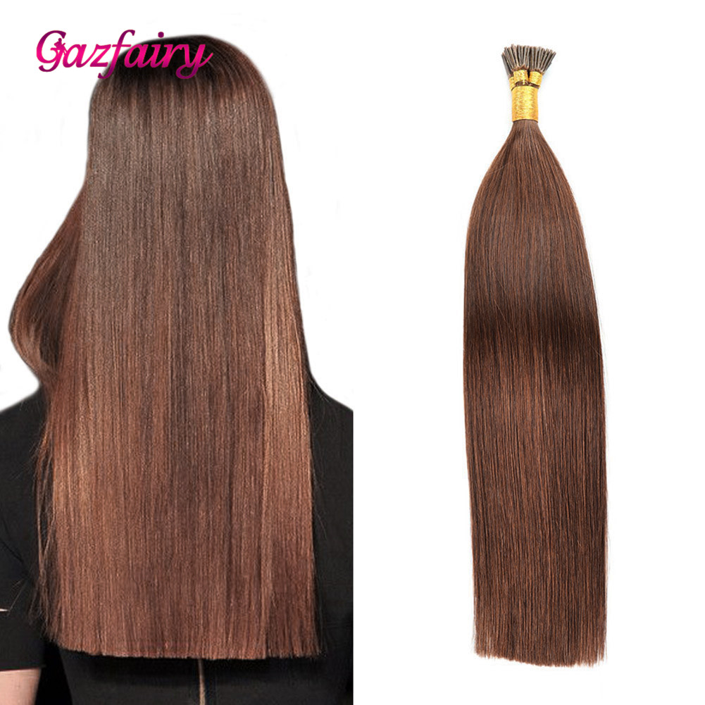 Gazfairy I Tip Hair Remy Human Hair Pre Bonded I Tip Extensions Natural Color 20'' 1g/s 50-100g Remy Fusion Human Keratin Hair