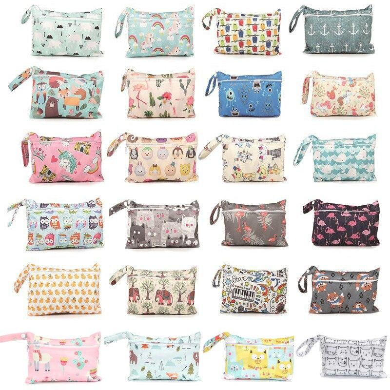 Mini Wet Bag Reusable For Nursing Menstrual Pads Waterproof PUL Snap Handle Wetbag Maternity Diaper Bag Stroller Bags 15*22.5cm
