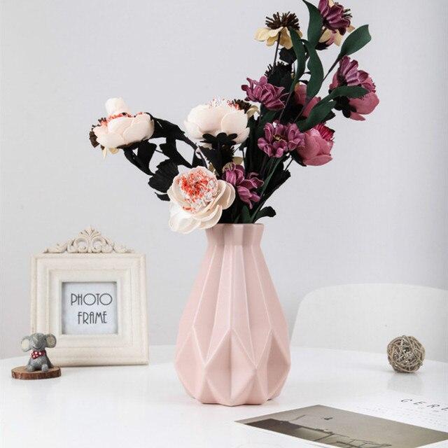Flower Vase Decoration Home Plastic Vase White Imitation Ceramic Flower Pot Flower Basket Nordic Decoration  Vases for Flowers 2