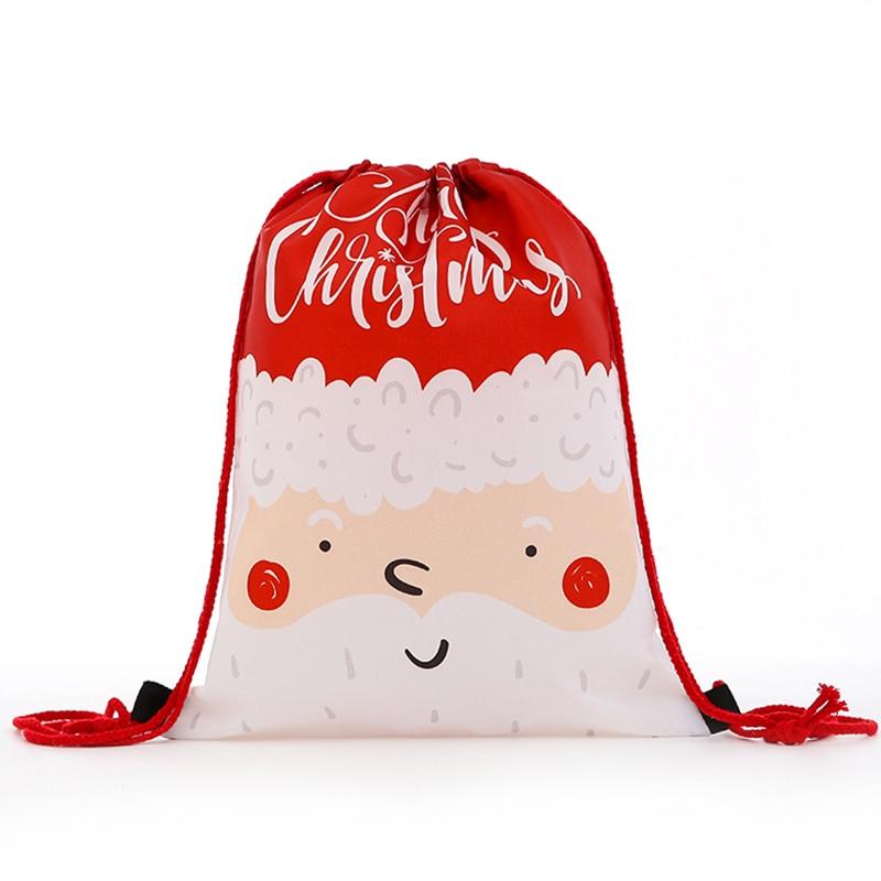 New Backpack Fashion Women Mini Drawstring Christmas Backpack 3D Printing Travel Softback Bags Men Mochila Drawstring Bag Girs
