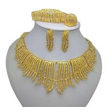 Новинка Африканский золотой цвет большой набор украшений ожерелье