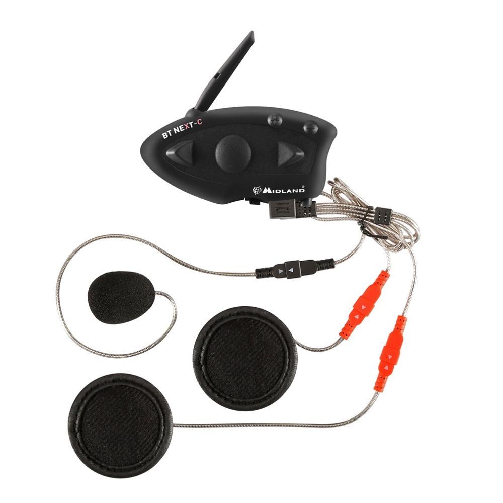MIDLAND Microphone Helmet Paired BT NEXT 1600M Motorcycle Helmet Intercom Headset Water-resistant Interphone Black