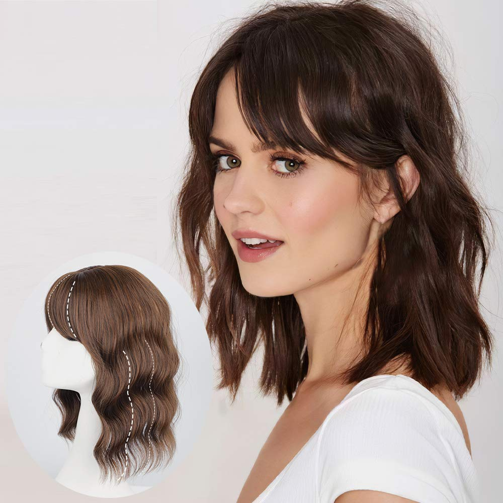 AISI HAIR Topper Hairpieces with Bangs Clip in Hair Topper Closure Synthetic Water Wave Topper Wig for Women Thinning Hair