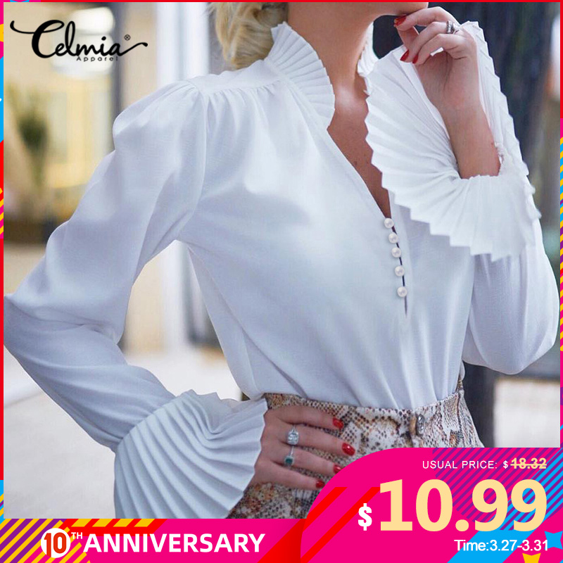 Top Fashion Celmia Women Long Flare Sleeve Ruffles Blouses Elegant Office Shirt Ladies V-Neck Buttons Party Blusas Plus Size 5XL