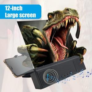 Image 5 - Besegad 3 in 1 12 인치 3D HD 휴대 전화 화면 증폭기 돋보기 프로젝터 블루투스 스피커 모바일 전원 기능