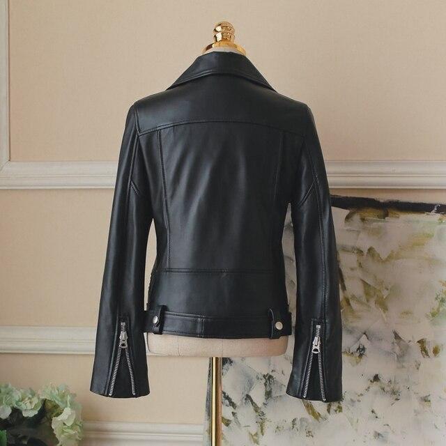FTLZZ New Autumn Women Pu Leather Jacket Woman Zipper Belt Short Coat Female Faux Leather Black Motorcycle Outwear Biker Jacket 2